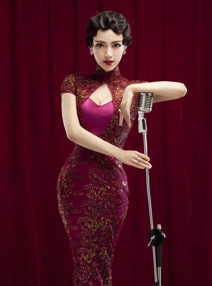老上海滩百乐门歌舞团紫色性感写真,浓浓的复古风美女美女眼影图片