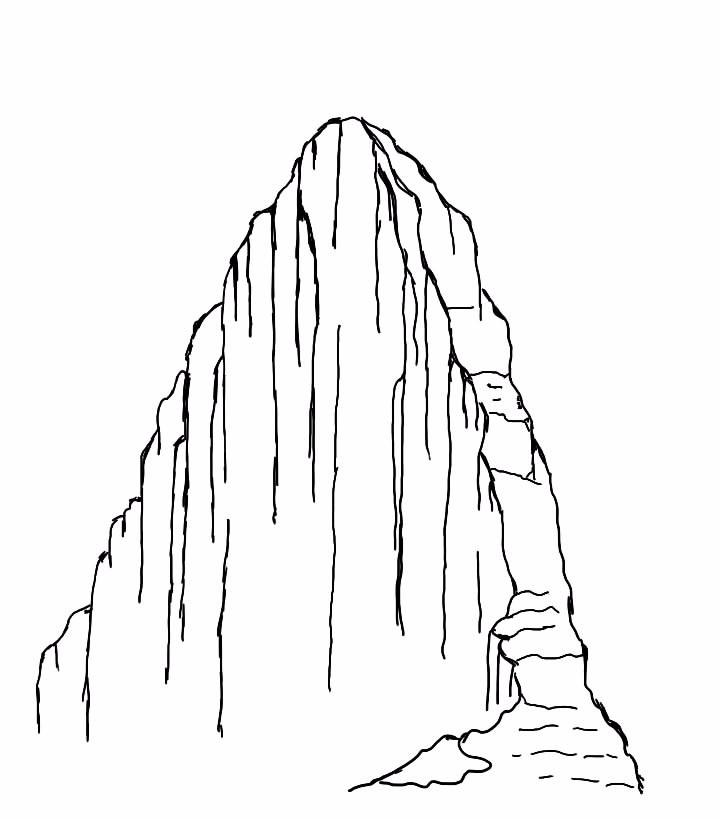 再放大山的带裂缝的位置,画上松树造型图片