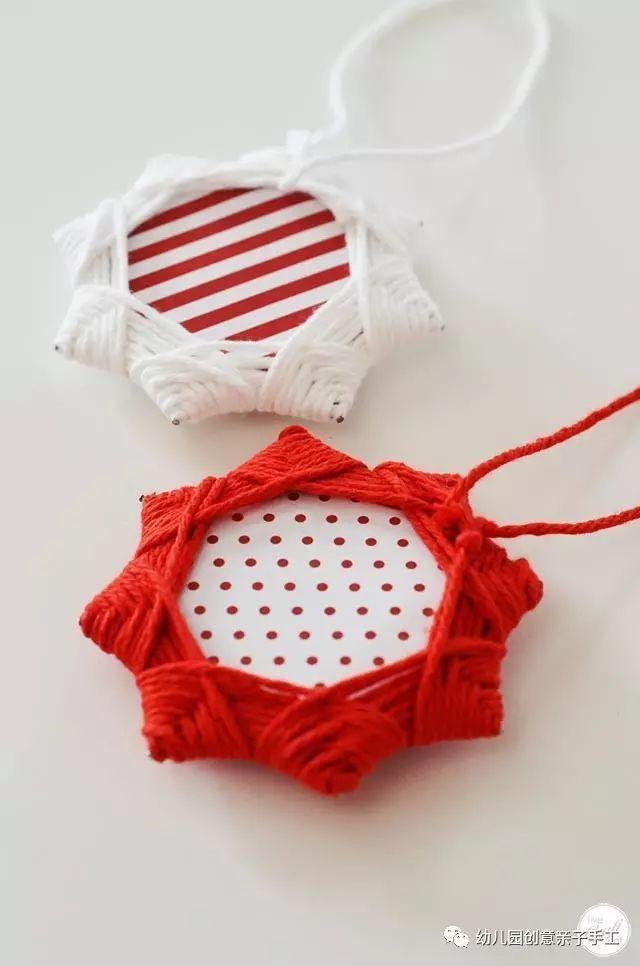 幼儿园毛线编织手工,八角星圣诞吊饰,用心打造欢乐的节日氛围