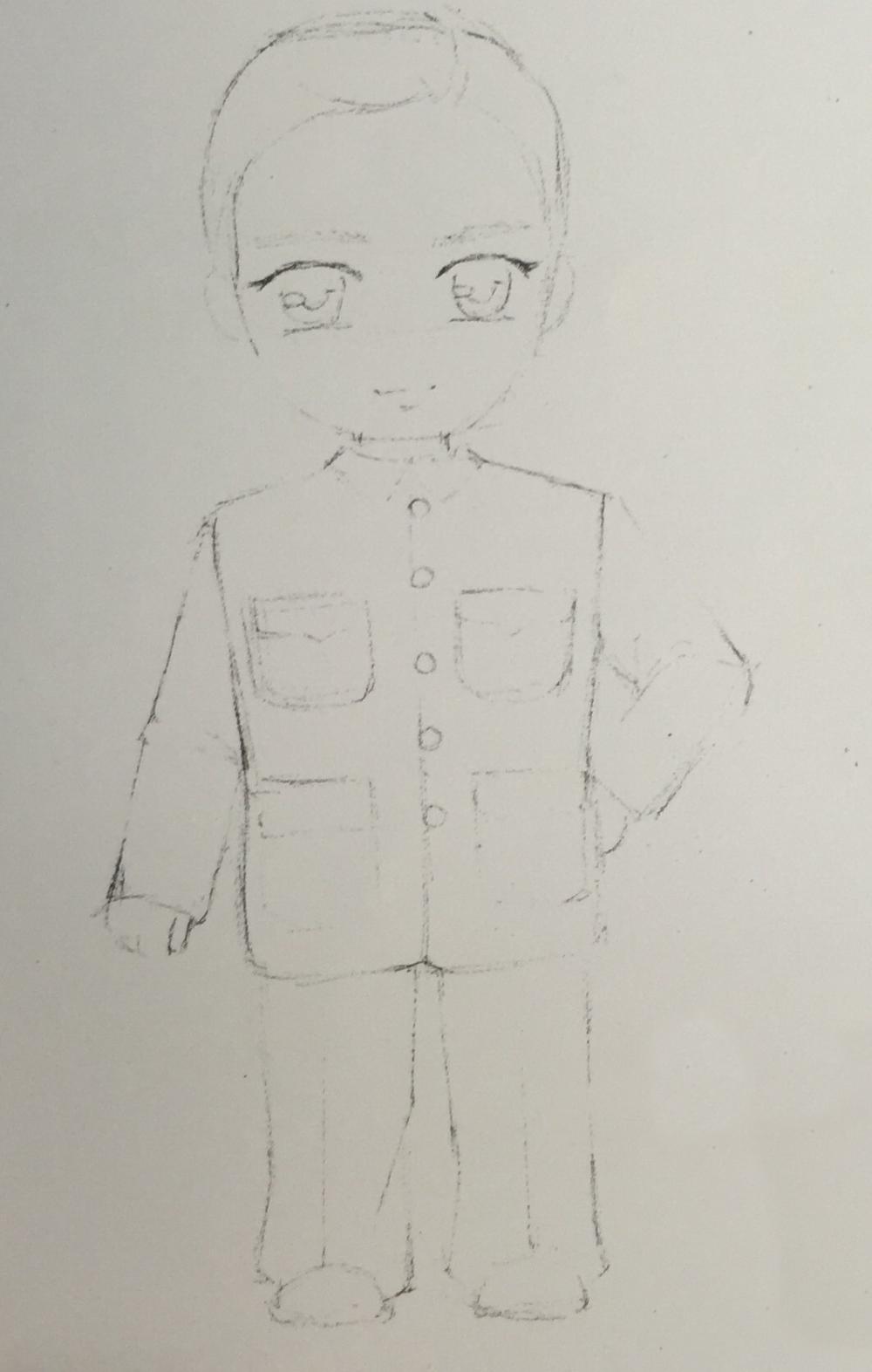 彩铅手绘中山装少儿手绘房屋v少儿古剑2图纸教程图片