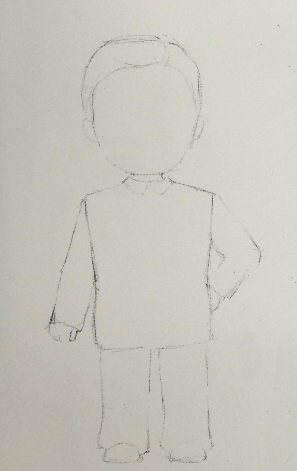 起线稿,用削尖的铅笔画单线勾出男子的身体轮廓,服饰特点,然后在面部
