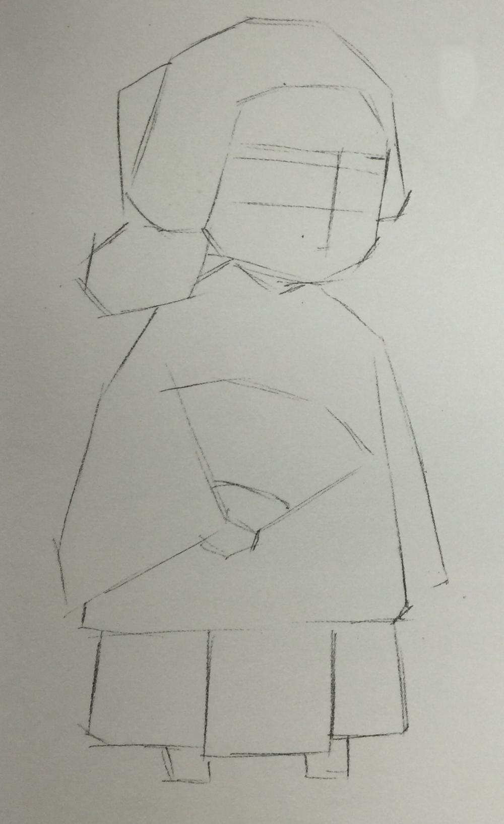 1,起线稿,用铅笔画单线勾出女孩的身体轮廓,并在面部定出五官位置.