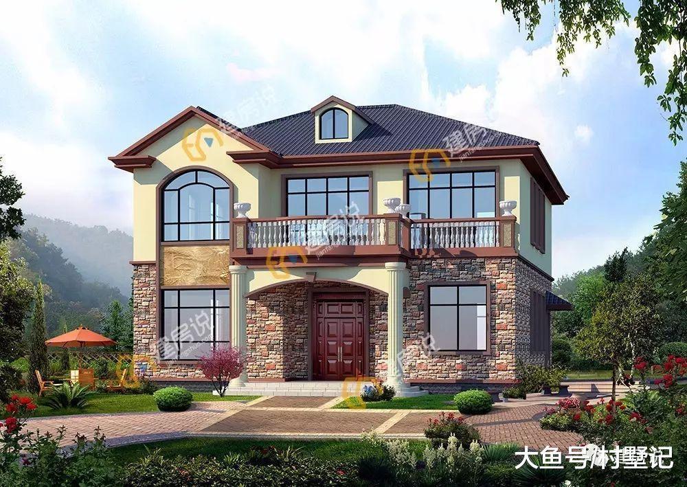 此户型为砖混结构的二层农村别墅,文化石的外墙同阳台及屋檐的配色相
