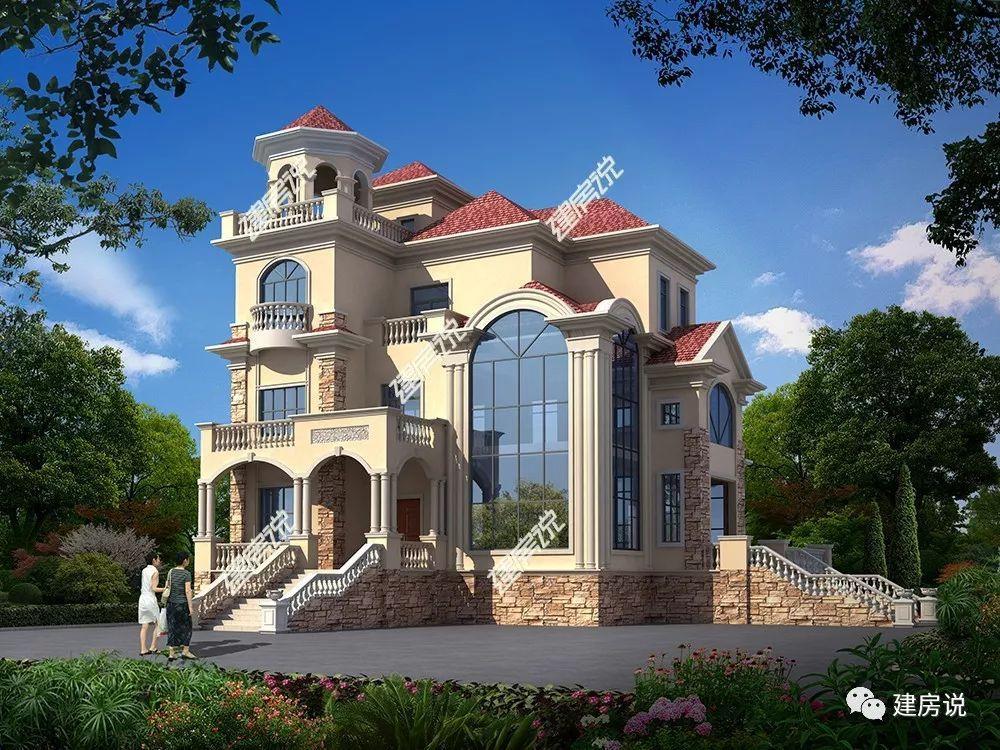 别墅四层设计,从气势上就压倒一片,屋顶还有个八角亭既能起到装饰作用