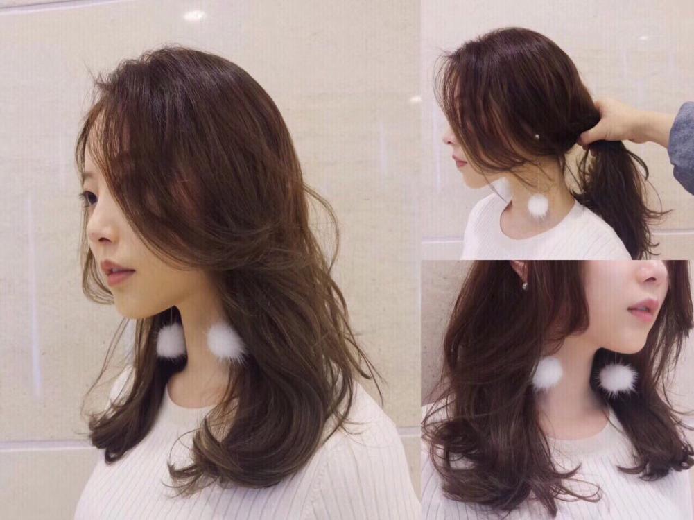 当下流行的八字刘海,气质非常,而且头发扎起来的效果也是不错的.图片