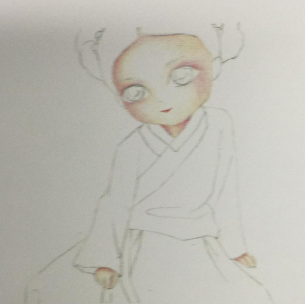 彩铅手绘q版古装美女 大家一起练习吧