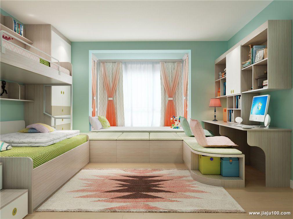 设计,15㎡的空间内摆放双层床,衣柜,书桌柜,中间用飘窗榻榻米无缝连接