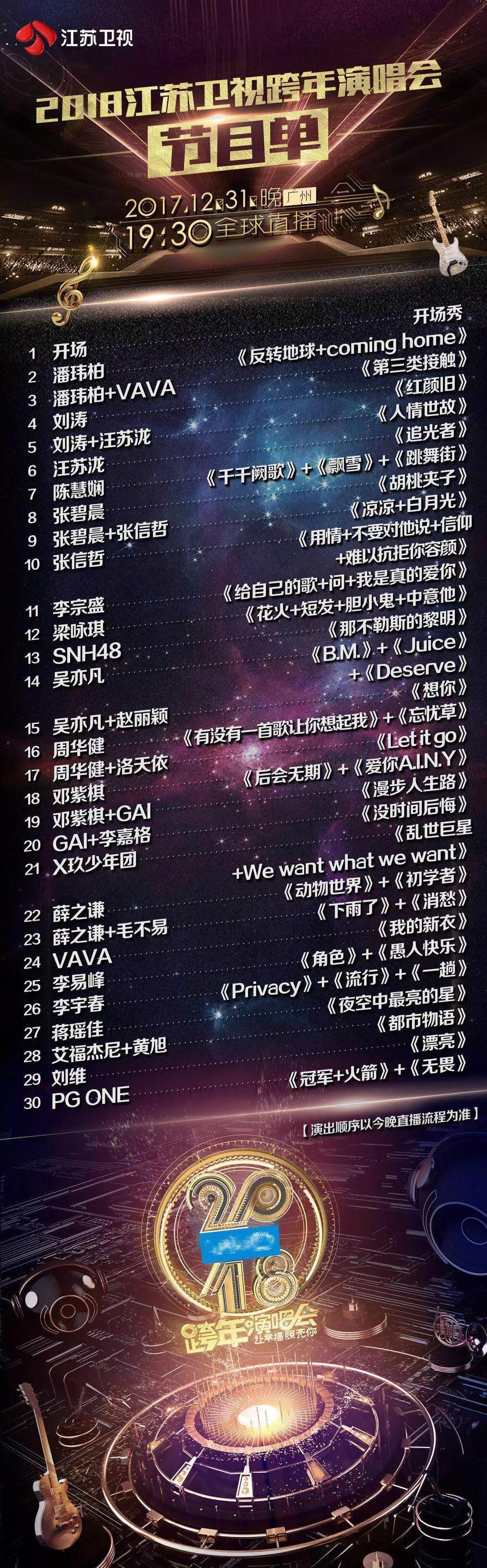江苏卫视节目单_江苏卫视跨年演唱会节目单