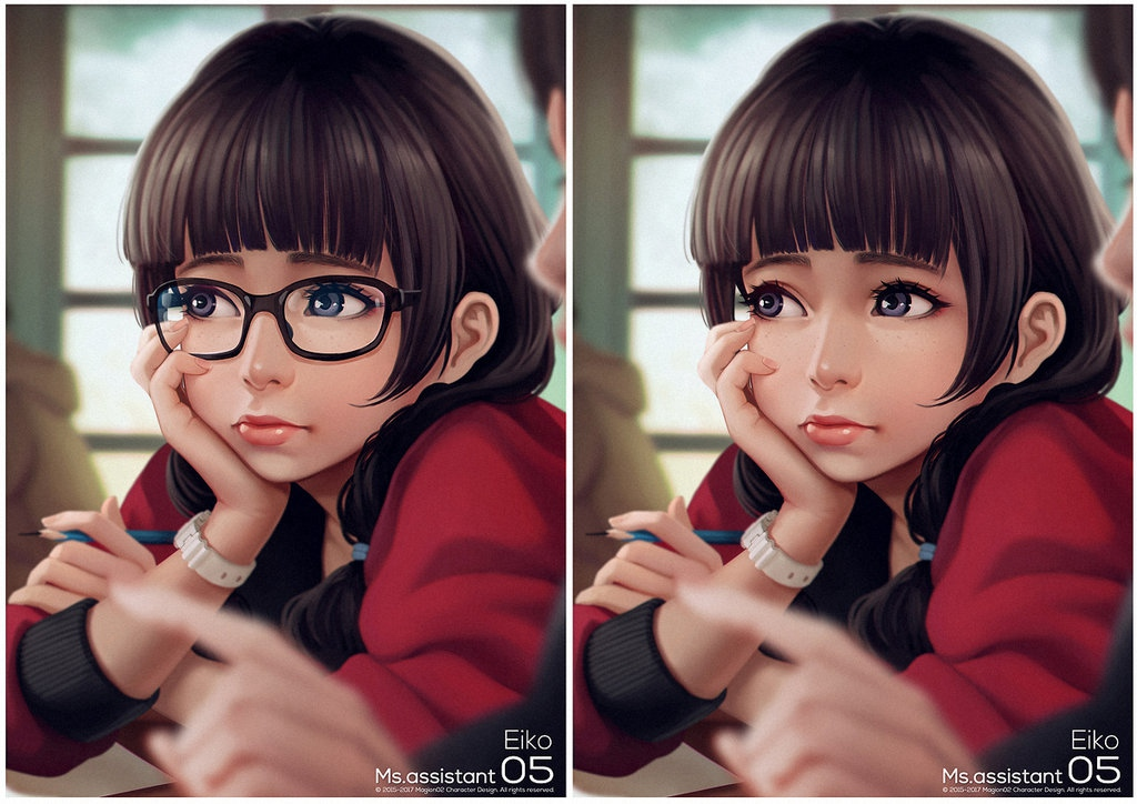 二次元心爱小女生,戴上黑框眼镜显得更呆萌了.