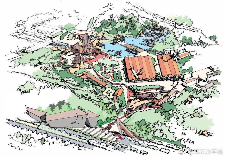 草图手绘构思方案-应急救援主题游乐园改造项目!作者