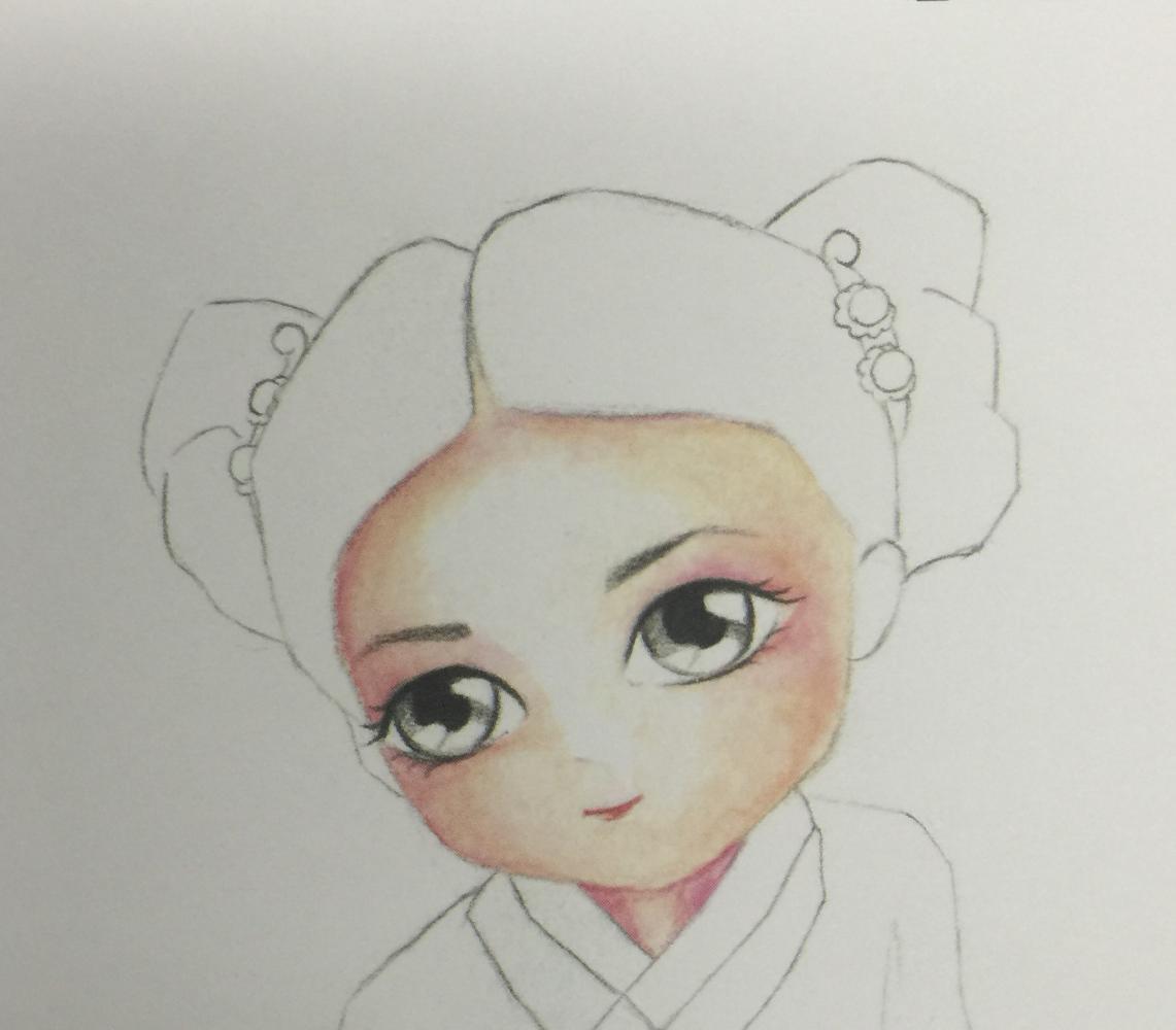 彩铅手绘q版古装美女 大家一起练习吧|颜色|皮肤|头发