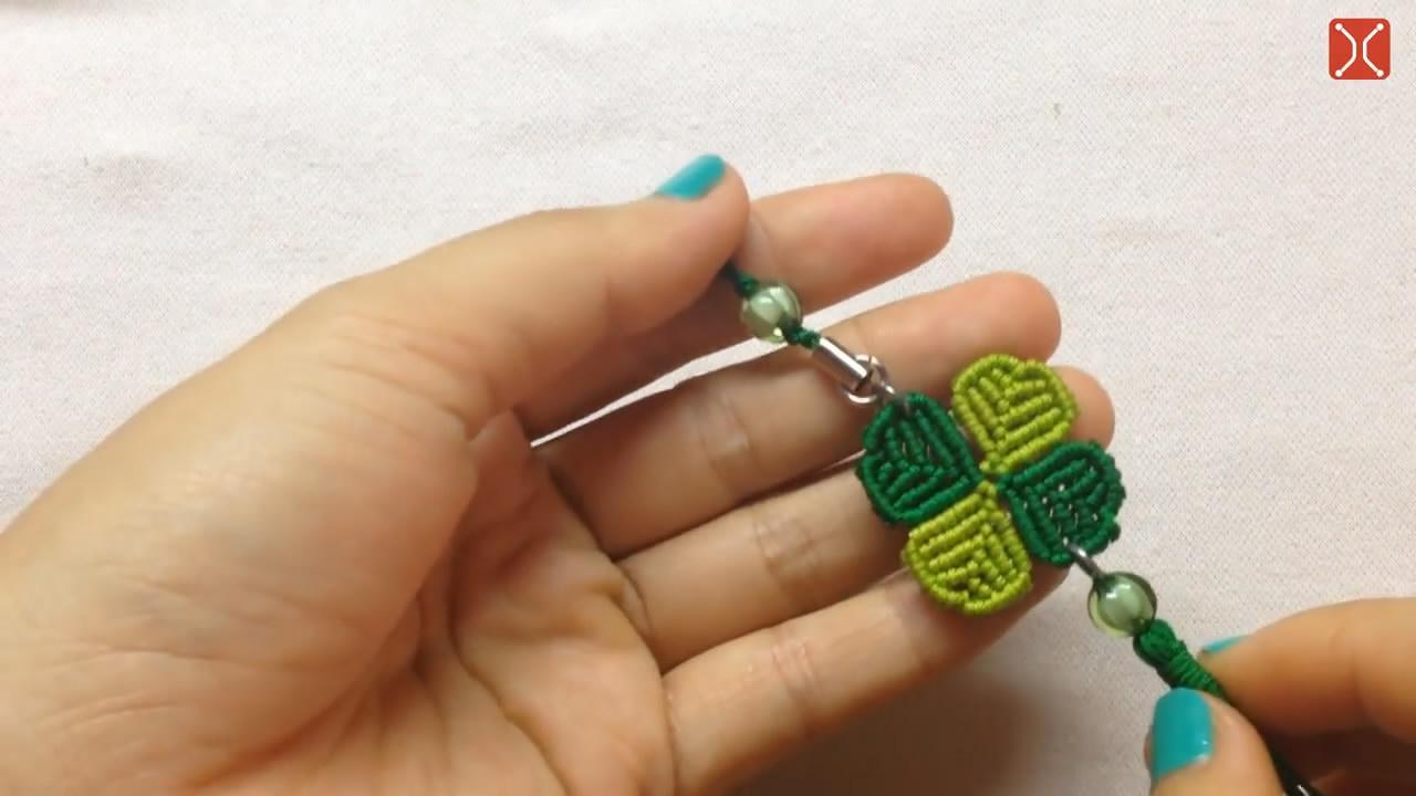 """手工编织""""四叶草""""流苏钥匙链, 方法很简单, 看一遍就学会了"""