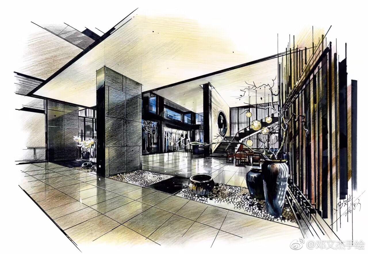 室内设计手绘表达(彩铅马克笔)投稿