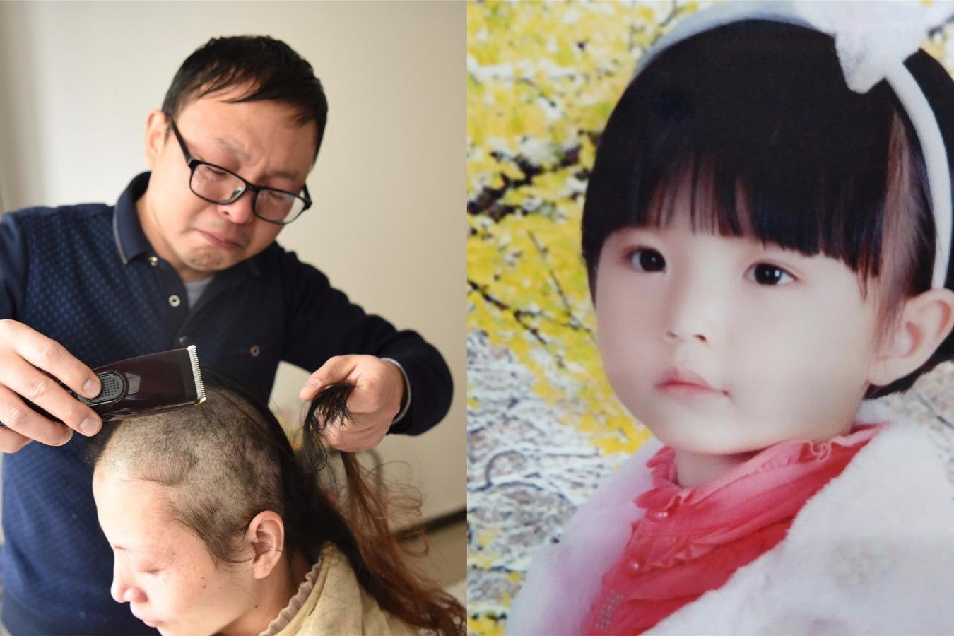 女孩剃光头_10岁白血病女孩画长发美人鱼 父母含泪剃光头