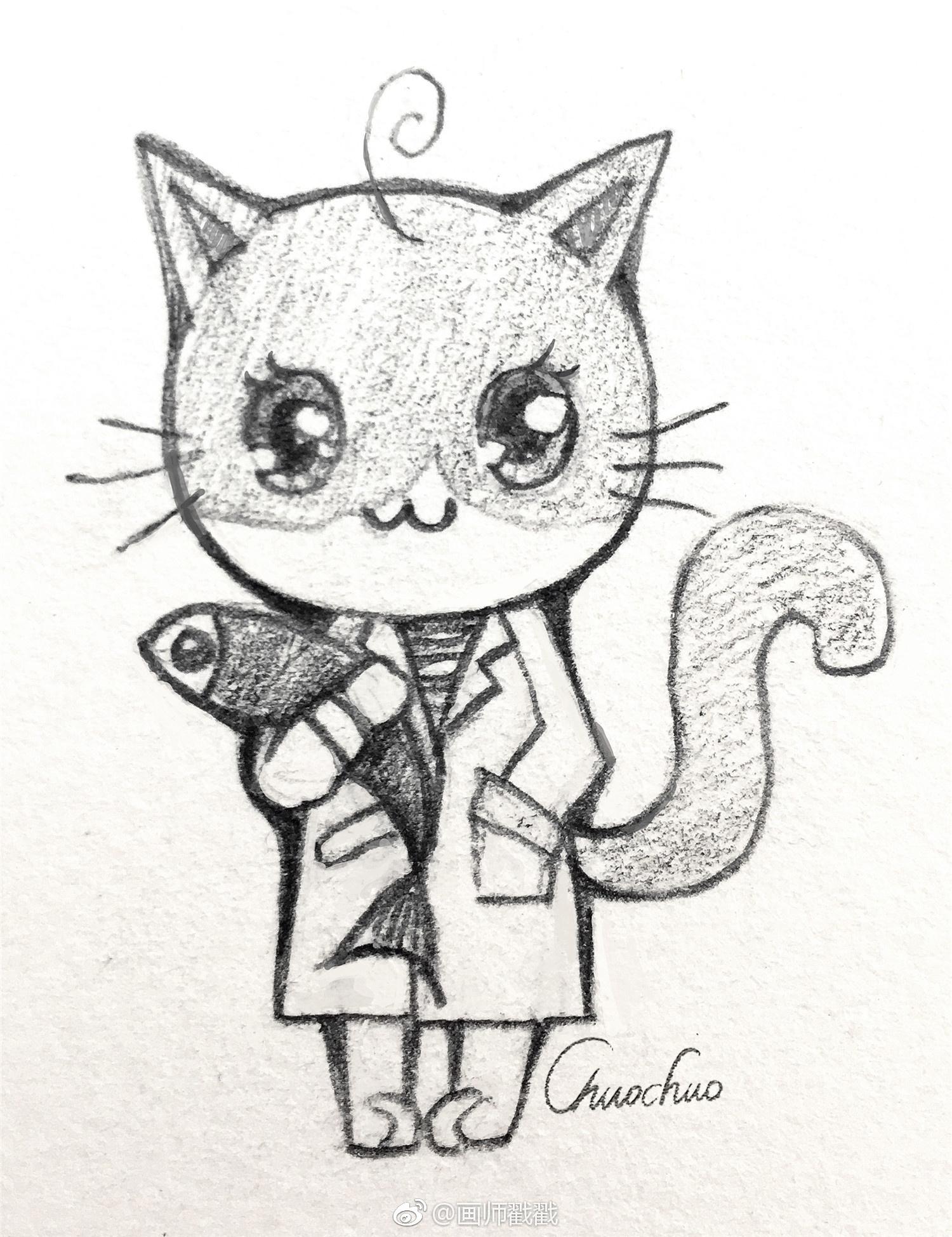 以我闺女为原型,简单的画了一套铅笔画萌猫图