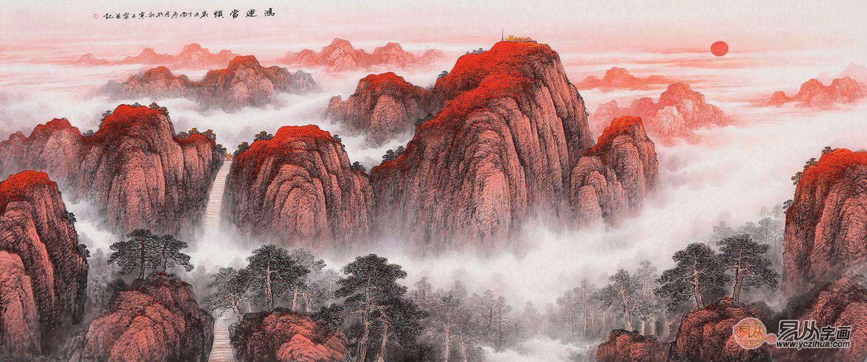 客厅山水画图片大全,这么诗意的国画山水画美呆了
