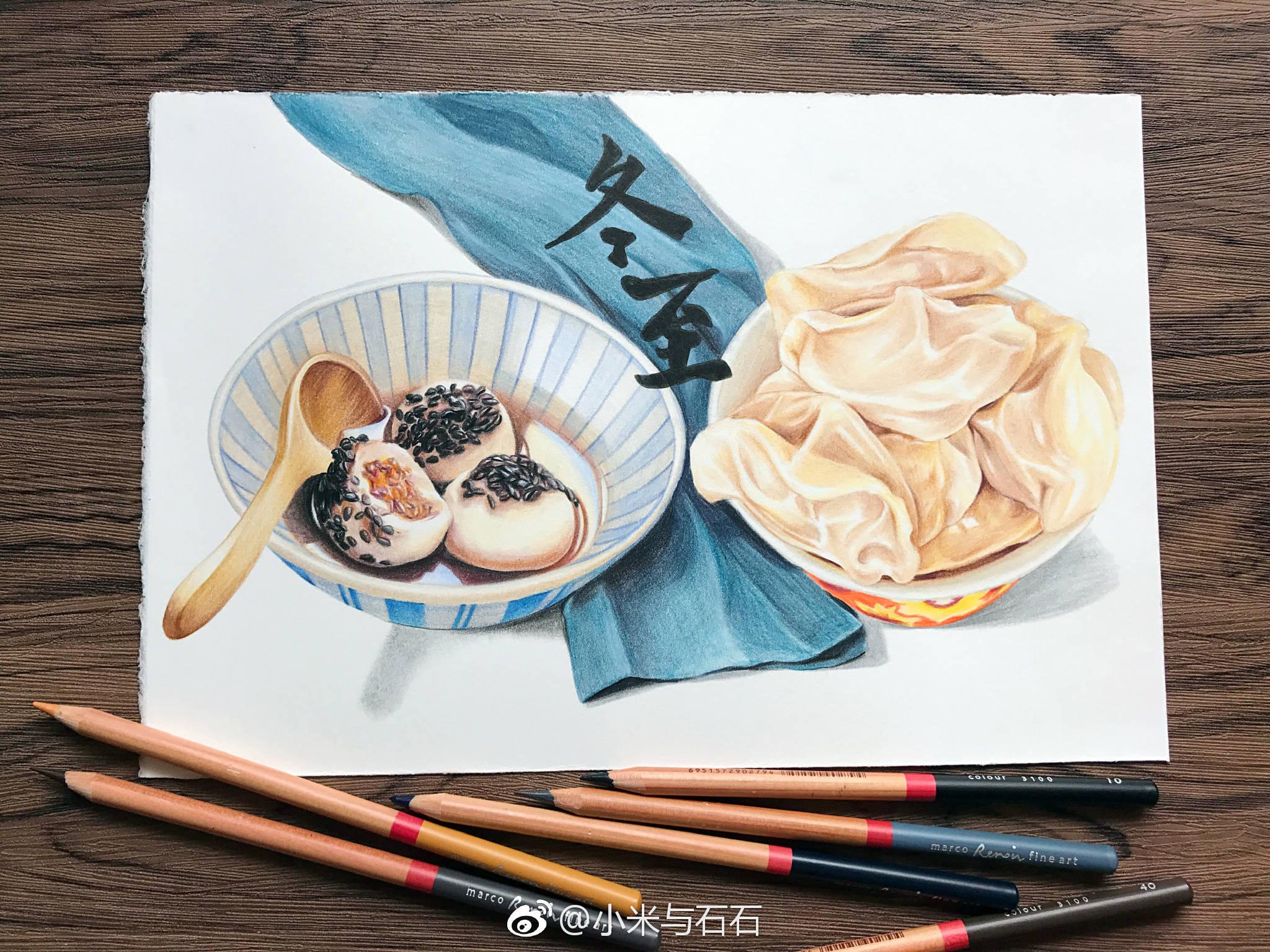 彩铅手绘二十四节气之美食,中国传统的时令多么美好
