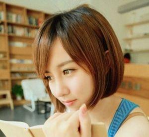 适合女生短发的学生知性圆脸又阳光短发不戴流海的发型图片