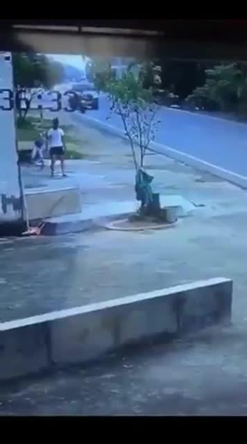 小汽车一个追尾司机翻滚,吓得摩托车屁滚尿流撇下主人躲进路边农  ?