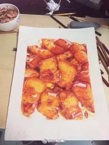 长沙一高校学生手绘红烧肉[憧憬]