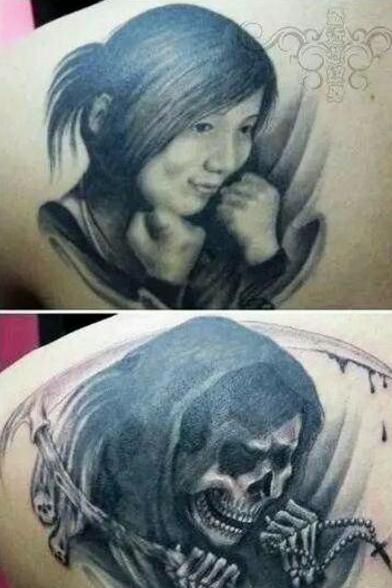 """恋爱时把女友纹在了身上,分手后就把纹身改成了这个""""鬼样子""""图片"""