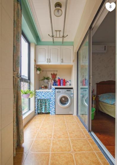 田园温馨风格阳台洗衣机装修效果图