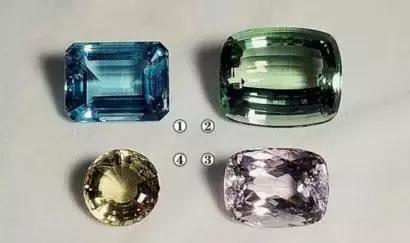 (1)海蓝宝石(2)祖母绿(3)摩根石以及(4)黄绿色的金绿柱石摩根石的选购