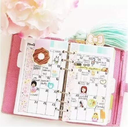 少女风 蝴蝶结,甜甜圈贴纸 粉嫩嫩的花朵,玫红色的手帐皮 一颗俏皮图片