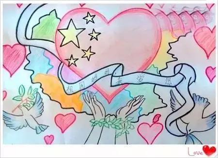 国庆主题儿童绘画作品:为祖国庆生,感受孩子们图片