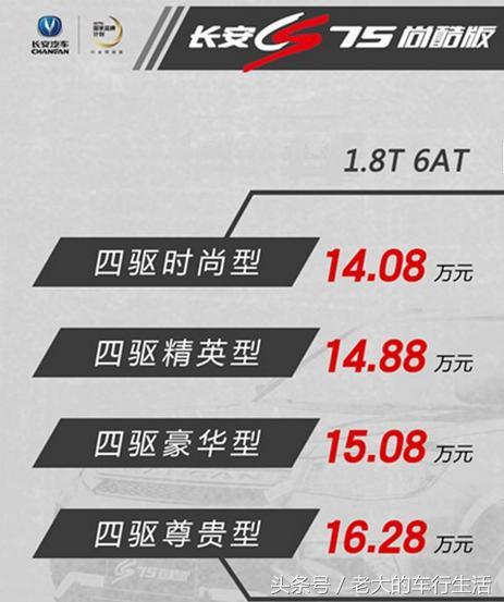 2017款长安cs75多少钱?配置升级带T9.38万开卖