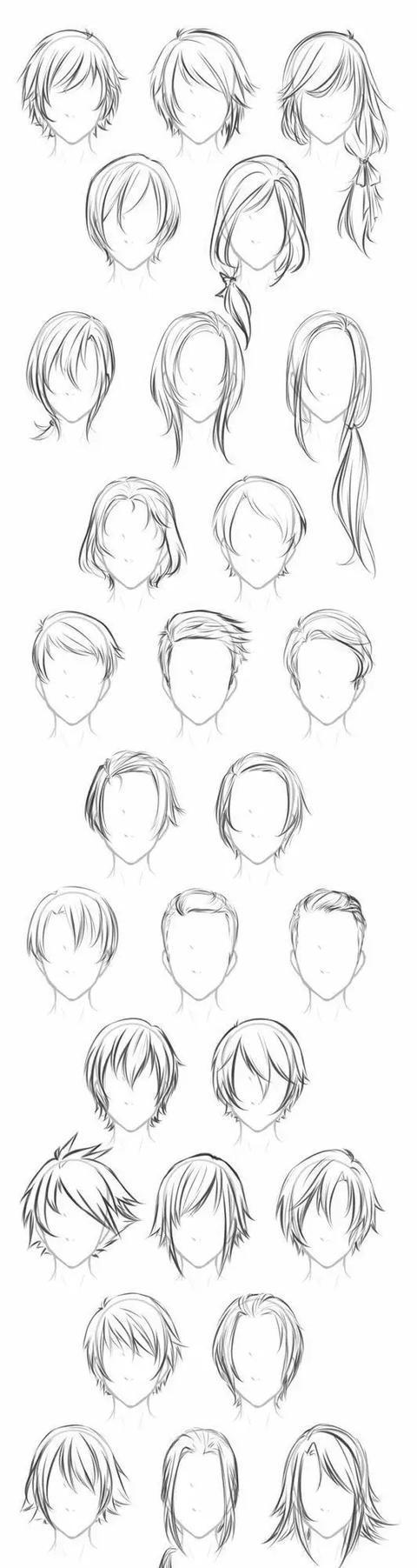 有了头部,必须得绘画头发,头发的多种类型分析,长发,短发,卷发外轮廓