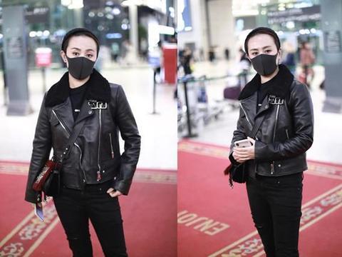 马丽现身机场,穿黑色皮衣帅气满分,网友:喜剧女王也能这么美