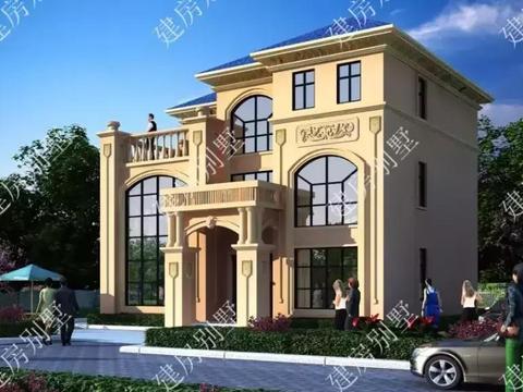 简欧风格的三层农村别墅, 建出来效果比干挂大理石还要好