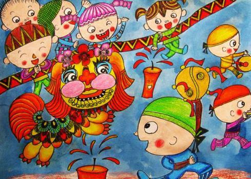 春节儿童画简单又漂亮图片