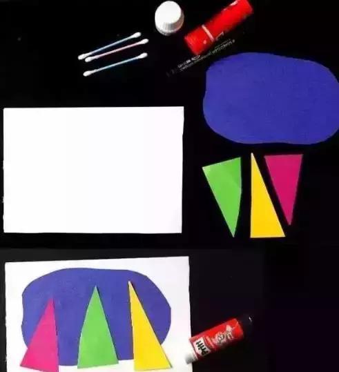 制作步骤: 彩色卡纸剪下几个长三角形,在深蓝色卡纸上剪下一个不规则