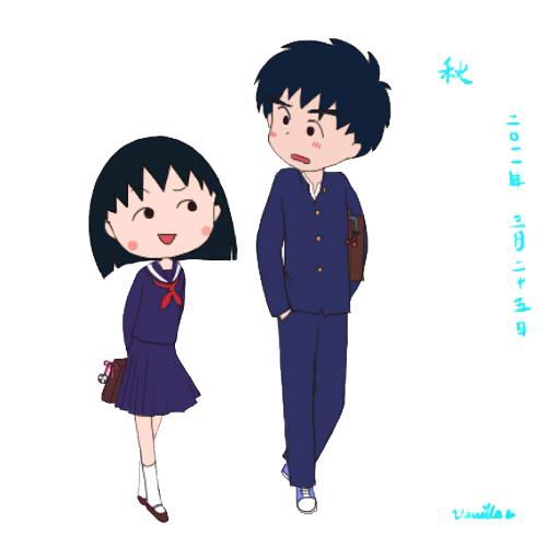 《樱桃小丸子》的情侣头像,你是喜欢花轮,大野还是小新呢?