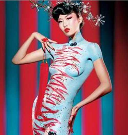 中国大胆人体艺术网创意旗袍人体彩绘图