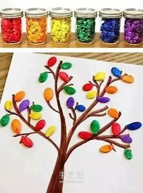 幼儿园简单益智手工:南瓜子大树拼贴画图片