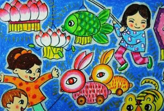 2018以元宵节为主题的儿童画有哪些,元宵节儿童画图片图片