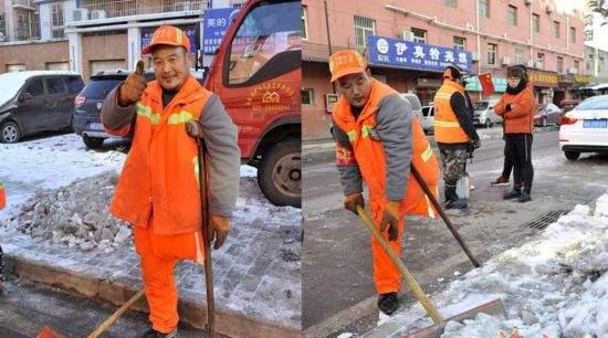 独腿聋哑保洁员靠拄拐街头铲雪12年
