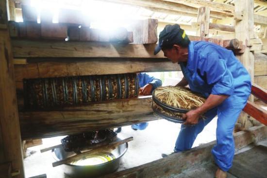 遵义纯手工传统榨油坊 土法榨油 传承200年的技艺