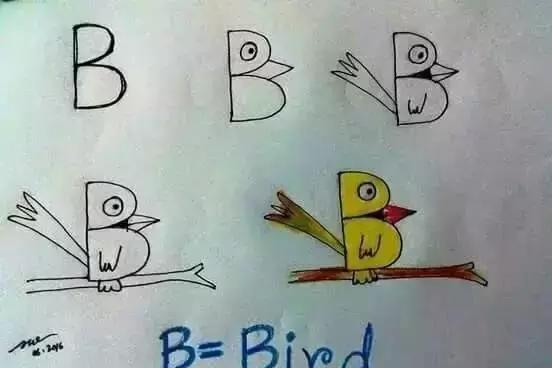 字母变身简笔画 孩子画画英语两不误