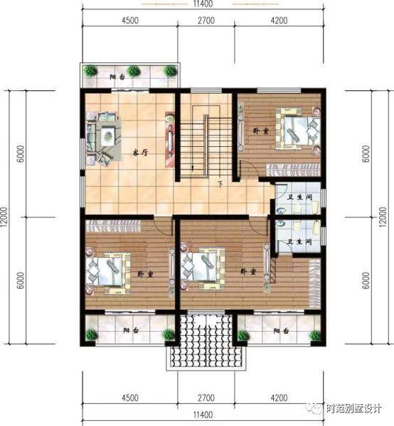 11x12米经典两层农村自建房,六室三厅四卫,是你想要的