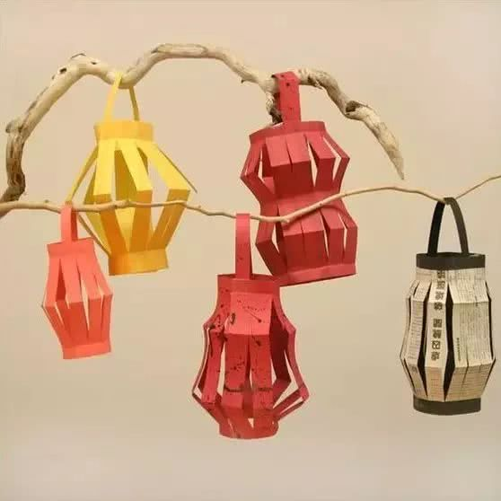 元宵必备纸艺小灯笼手工制作,和孩子一起动手吧!