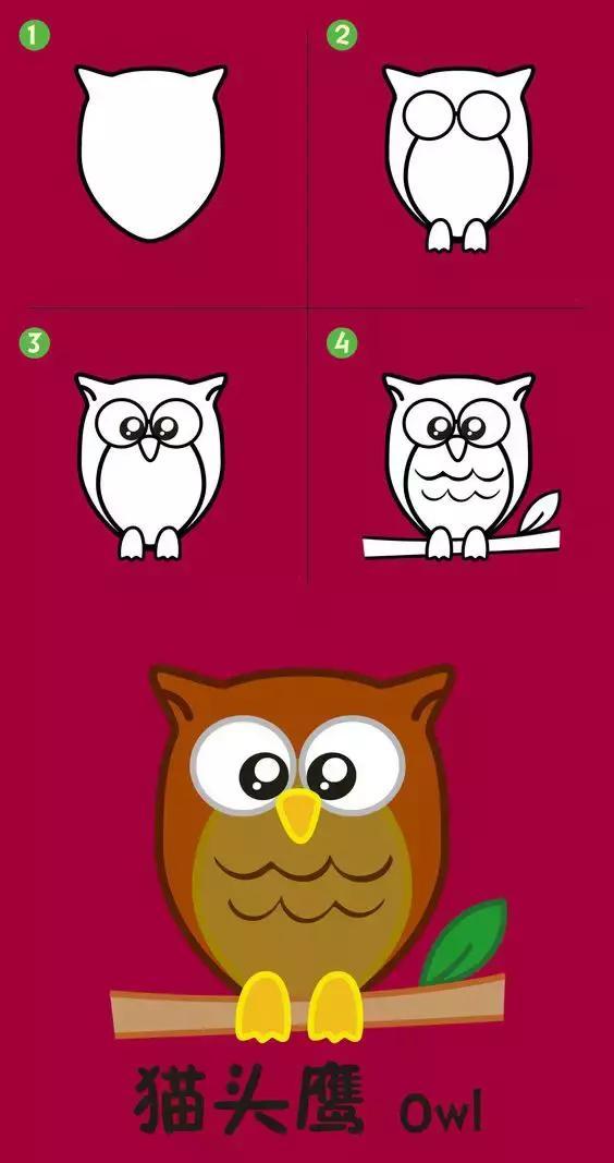 儿童简笔画教程:苹果裙子猫头鹰等,八个教程幼儿园孩子轻松易学