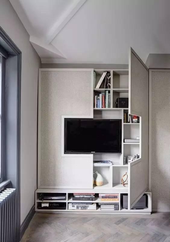 第一系列:收纳型电视墙 以下几款是整体柜式电视背景,没有浪费整面图片