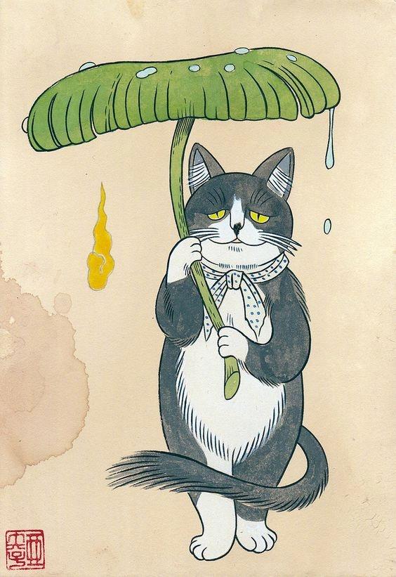 诞又有趣之猫来自石黑亚矢子。她是恐怖漫画家长门漫画四格图片
