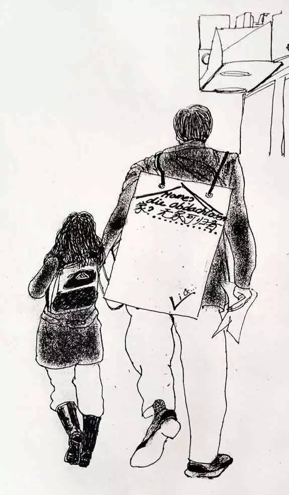 宝宝上学背影简笔画