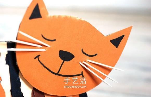 幼儿园手工制作猫咪 硬纸板小猫的做法图解