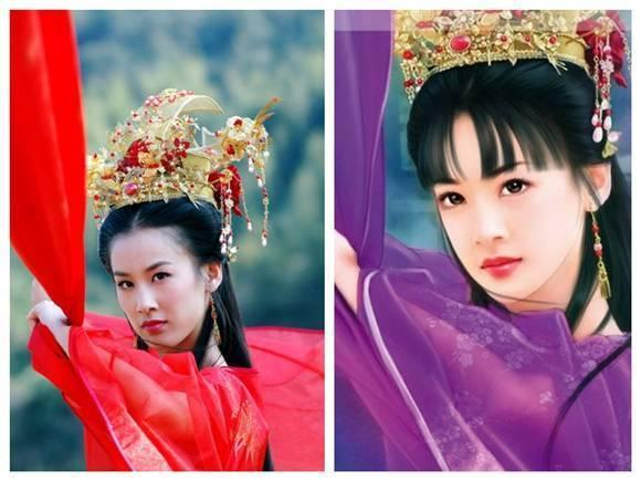 超漂亮女明星古装手绘无皱纹版全集,林心如像蒋欣,叶童显老态!